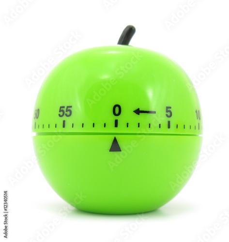 Leinwanddruck Bild Egg timer green apple