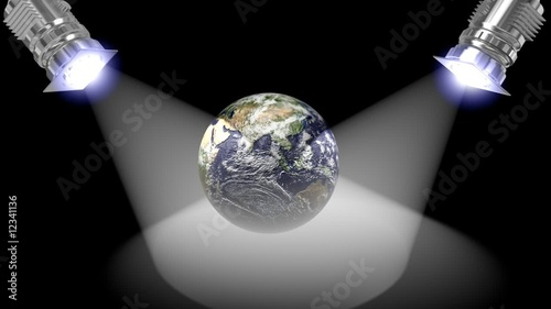 Animated white reflectors with earth rotating,loop