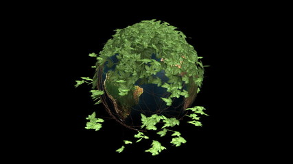 Earth globe and ivy growing to surround the planet,Alpha