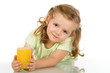 Little girl with fruit juice