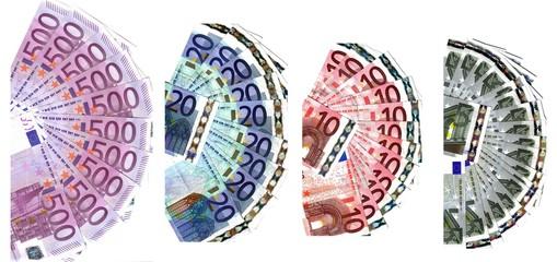 four range of euro banknotes