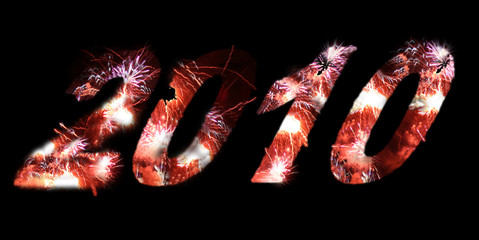 Year 2010 fireworks text