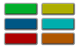 Set of shiny, rectangle buttons isolated on white. poster