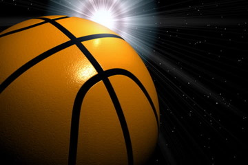 Basketball ball rotating with sun,seamless LOOP