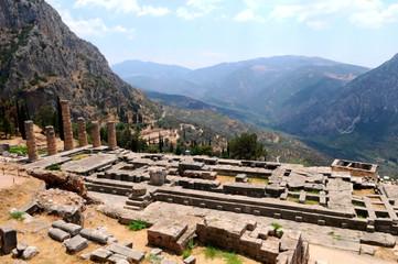 general view of Apollo temple in Delphi, Greece