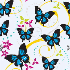 Seamless Butterflies and Floral Pattern