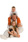 Grandfather with grandson and granddaughter poster