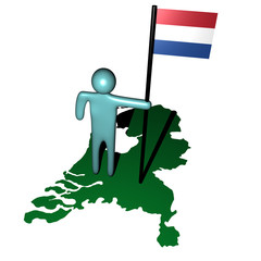 person with dutch flag on map