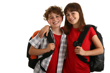 Kids with backpack isolated on white