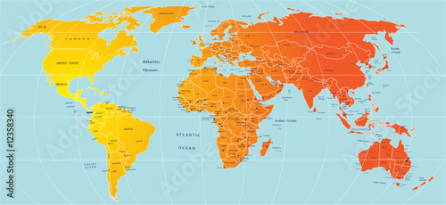 Naklejka Map of world
