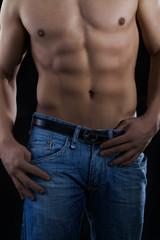 Waschbrett mit Jeans