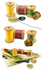 Set of threads, thimbles and needles isolated