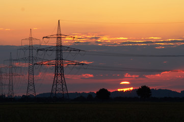 Sunset and pylons