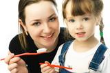 mother teaching her daughter brushing teeth poster