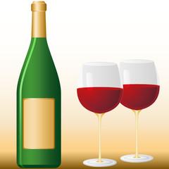 Flasche und 2 Gläser
