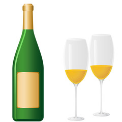 Sektflasche und Sektgläser