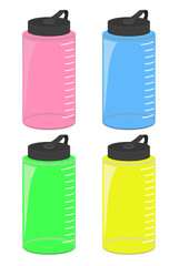 Water bottles vector illustration set