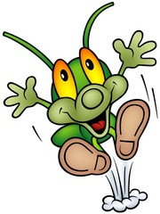 Happy Green Bug - big jump