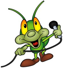 Happy Green Bug with microphone