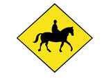 horse rider warning sign