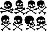 Various pirate skulls and crossbones vector illustration poster
