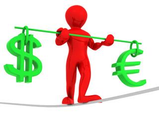 Man walking on a rope. Balance of dollar and euro