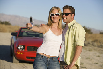 Couple Taking a Camera Phone Picture