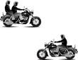Three bikers. Vector illustration