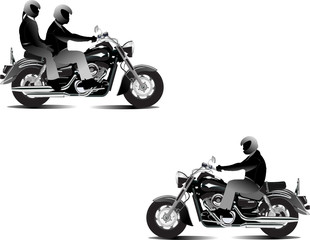 Three bikers. Vector illustration