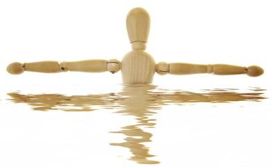 Hombre de madera y reflejo