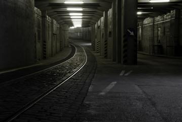 Eisenbahntunnel im Berliner Flughafen Tempelhof
