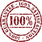 Vector satisfaction stamp with red ink poster