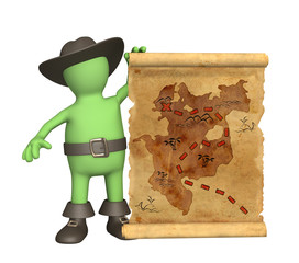 Pirate with ancient map