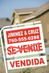 Close-up of information sign of real estate agency