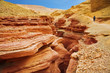 The woman - tourist goes on picturesque Red canyon