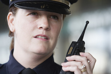 Close up of female police officer.