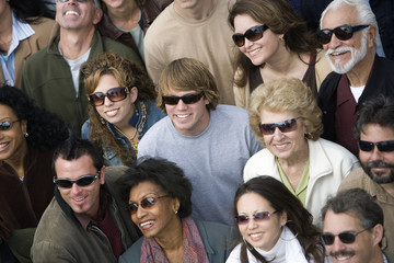 Crowd wearing sunglasses