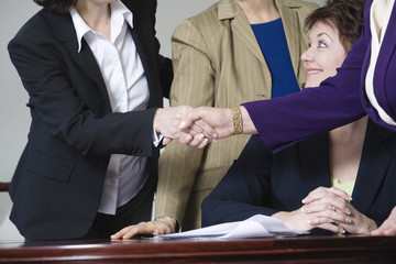 View of businesswoman shaking hands by colleagues.