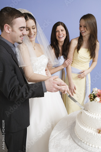 Cheerful bride and groom cutting cake.