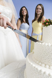 Midsection of a couple cutting cake.