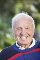 Portrait of a senior man smiling.