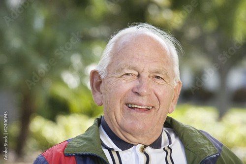 Portrait of a senior man smiling.