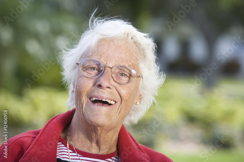 Portrait of a senior woman smiling.