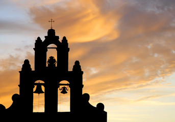 Mission Bell Tower at Sunset (silhouette)