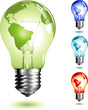 lighztbulb with world-map on its surface - four color-versions