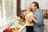 Flirtatious Couple Sharing Asparagus poster