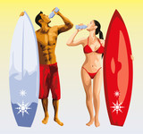Fototapety surfer man and girl drinking