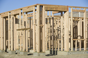 Wooden structure on construction site