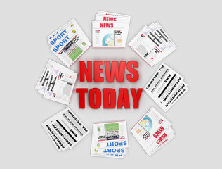 Today news logo sorrounded by newspaper -digital artwork