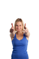Casual Woman with her thumbs up to the camera